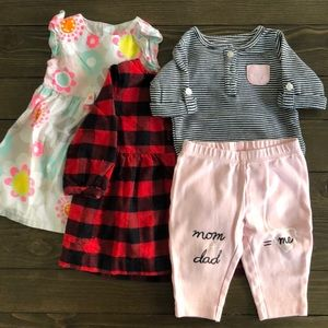 (3) 2pc bundle! Carter's Baby Girl 3m outfits